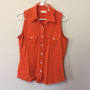 Orange Sleeveless Button Up
